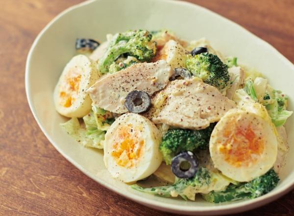 第4位 サラダチキンとゆで卵のマスタードマヨサラダ レシピ画像