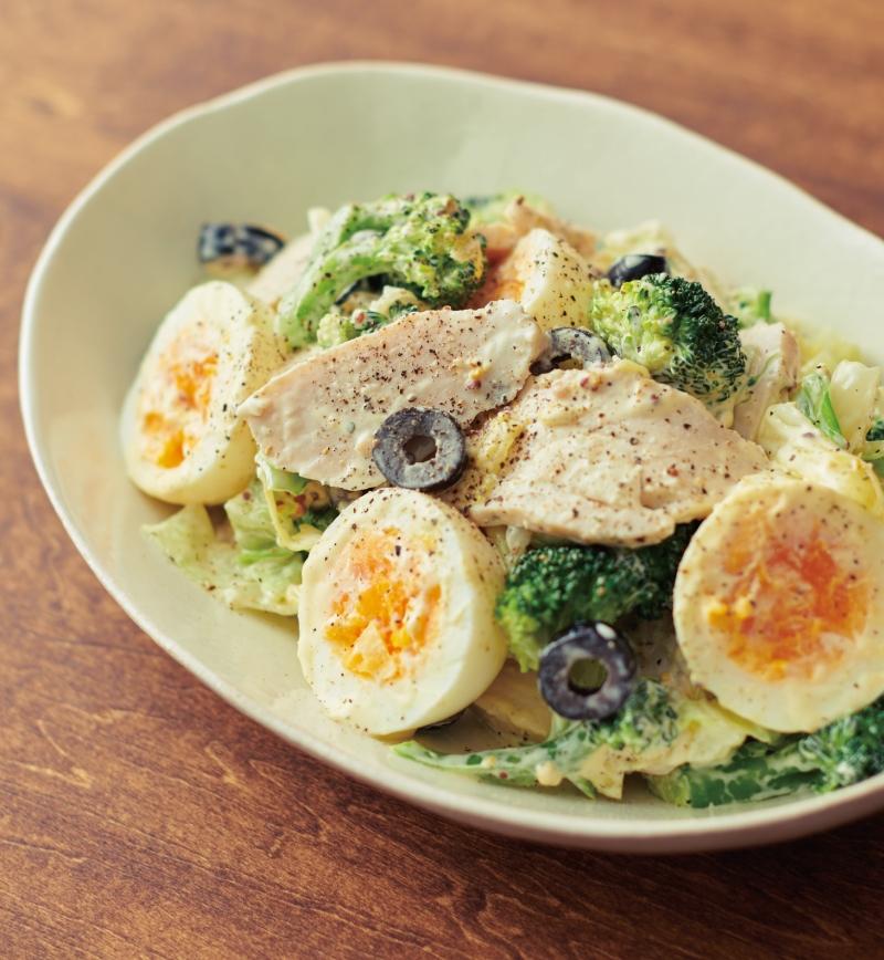 サラダチキンとゆで卵のマスタードマヨサラダ レシピ画像