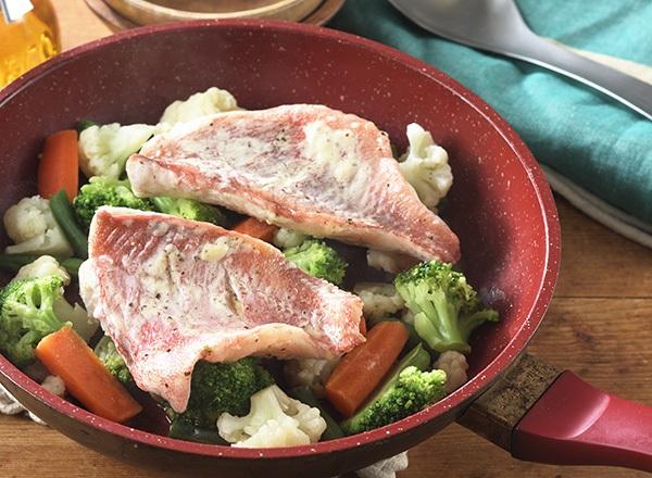 赤魚と野菜のぽん酢蒸し