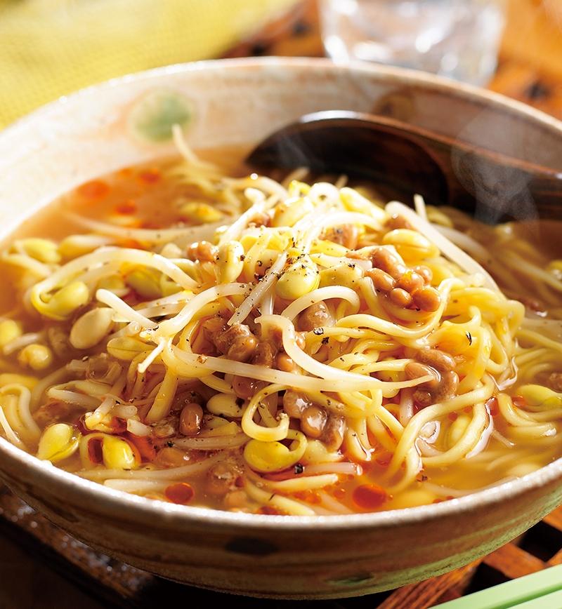 納豆ともやしの味噌ラーメン レシピ画像