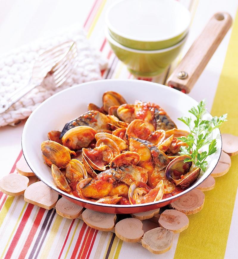 塩さばとあさりのアクアパッツァ レシピ画像