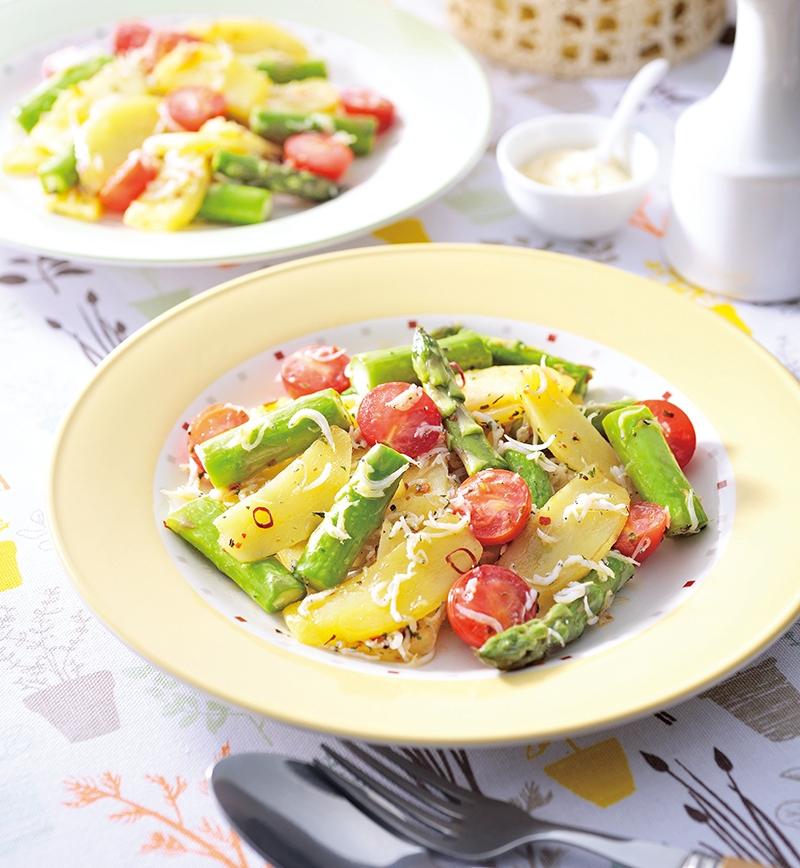 しらすと春野菜のペペロン炒め レシピ画像