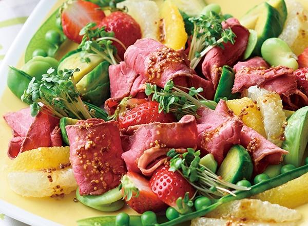 ローストビーフのフルーツ春サラダ レシピ画像