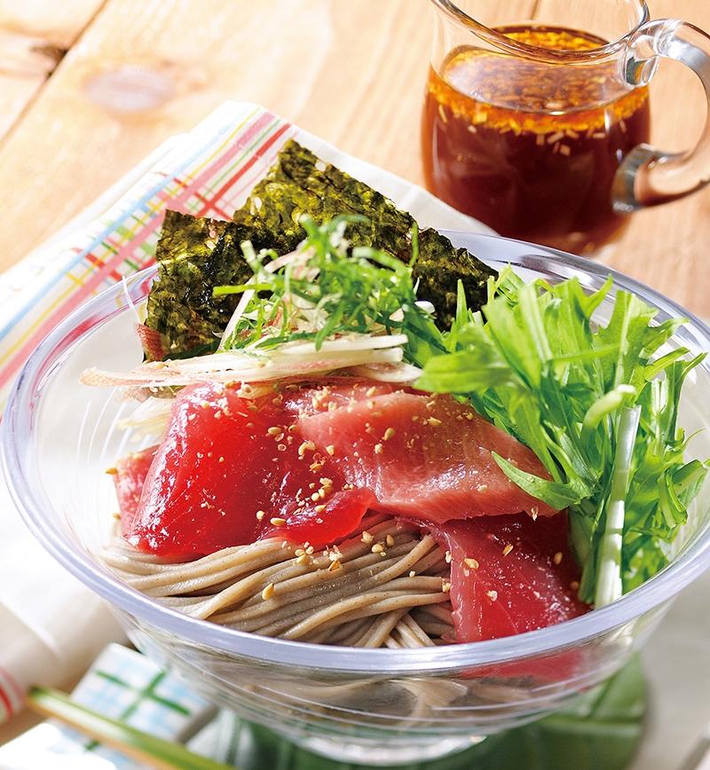 韓国風まぐろのぶっかけそば レシピ画像