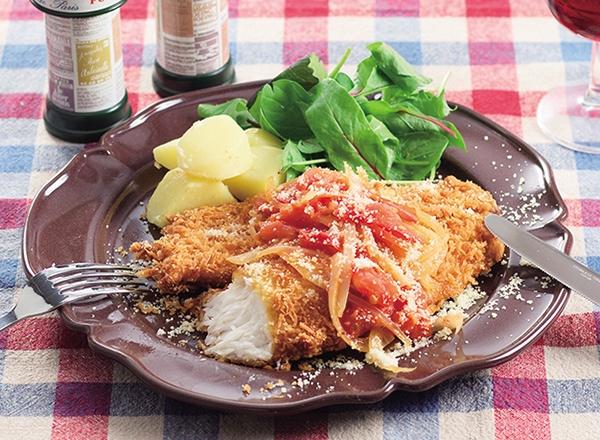 いずみ鯛のミラノ風カツレツ トマトソース添え レシピ画像