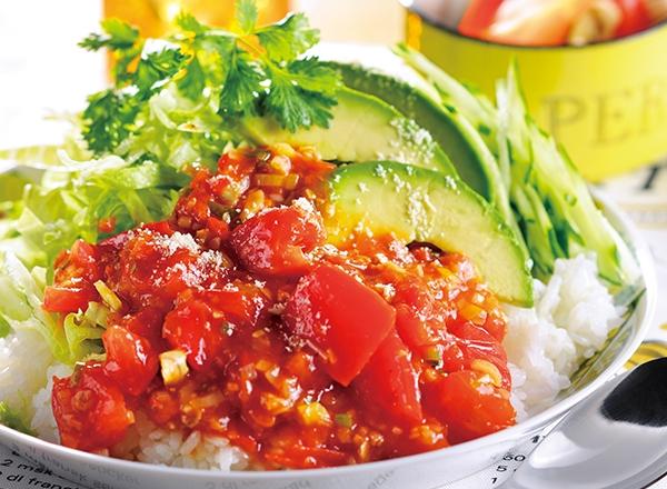 麻婆トマトのタコライス レシピ画像