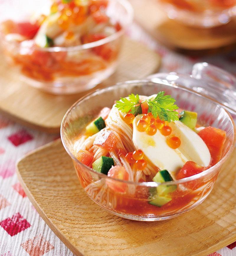 トマトとモッツァレラチーズの冷製そうめん レシピ画像