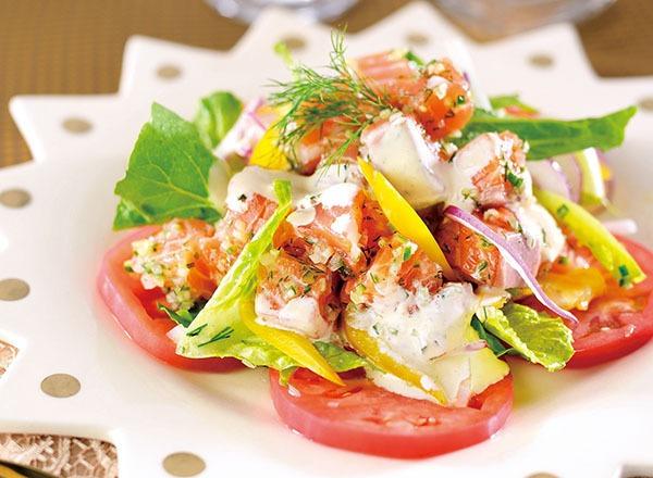 アトランティックサーモンのロミロミ風サラダ レシピ画像