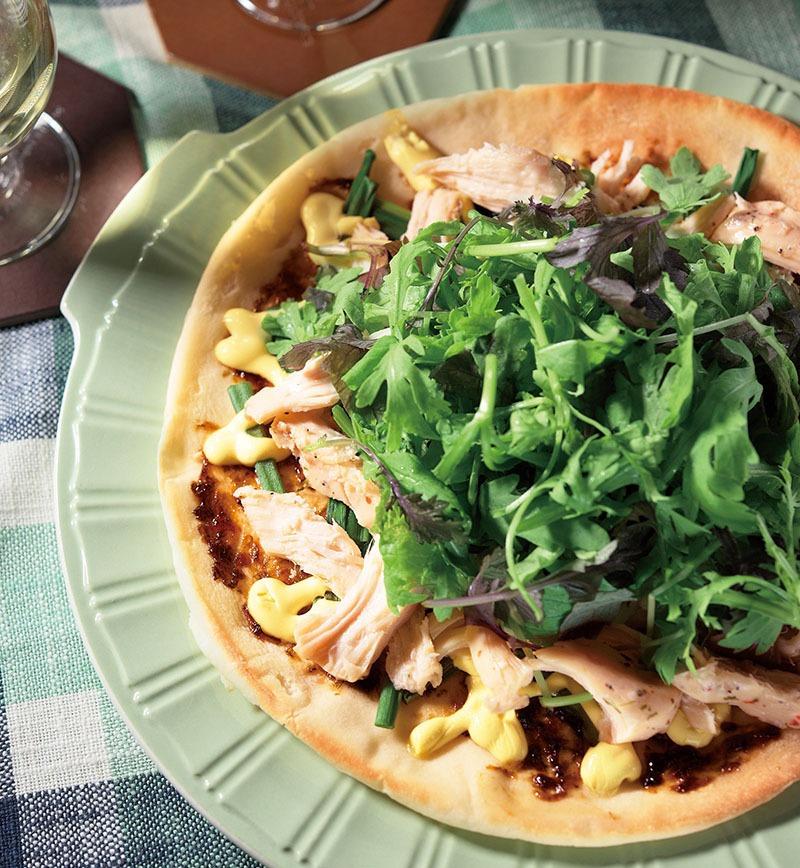 サラダチキンと海苔の和風ピザ レシピ画像