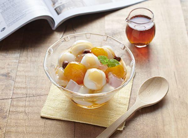 アンズと白玉のメープルみつ豆 レシピ画像