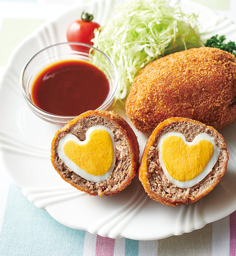 ハートたまごのスコッチエッグ レシピ画像