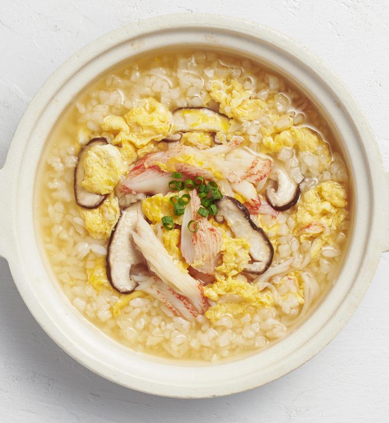 【ベジスープめし】ごはんの半分をカリフラワーに置きかえた あっさり雑炊 レシピ画像