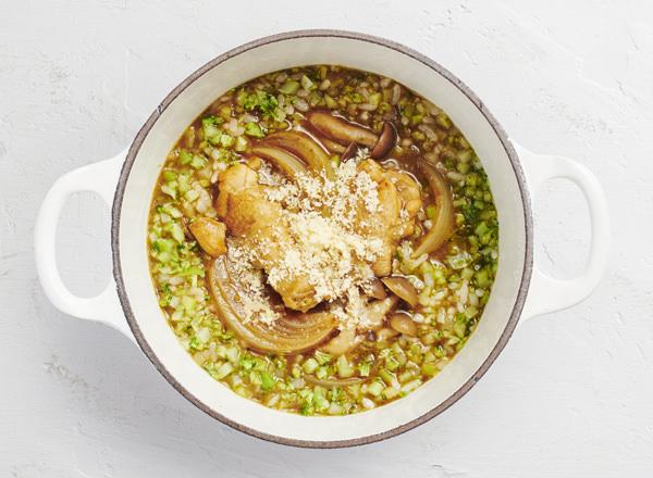 【ベジスープめし】ごはんの半分をブロッコリーに置きかえた 濃厚カレー雑炊