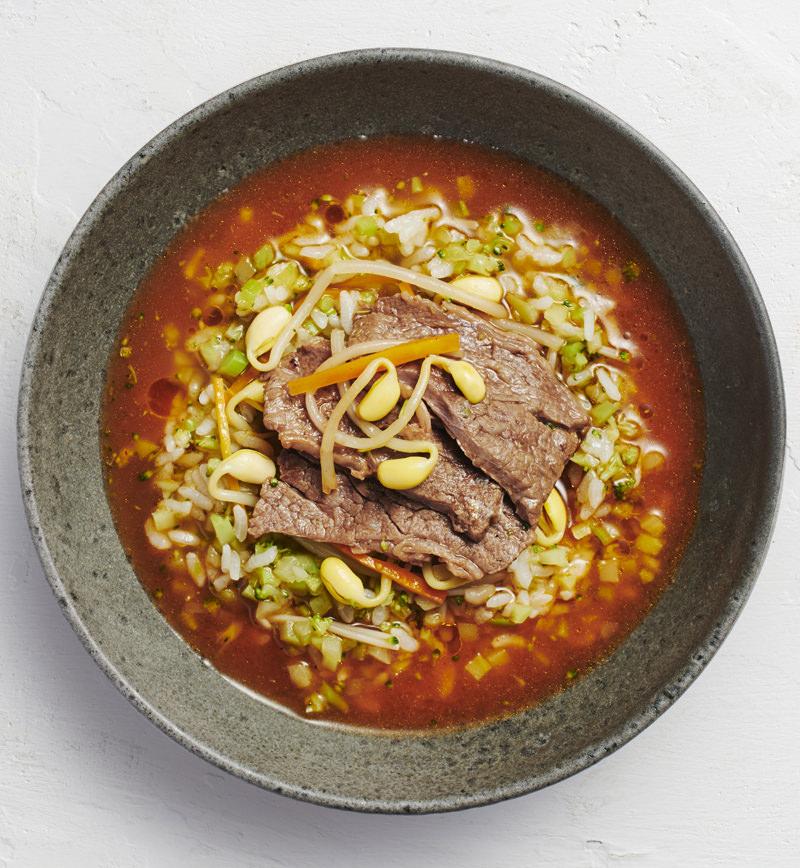 【ベジスープめし】ごはんの半分をカリフラワーに置きかえた 旨辛クッパ レシピ画像