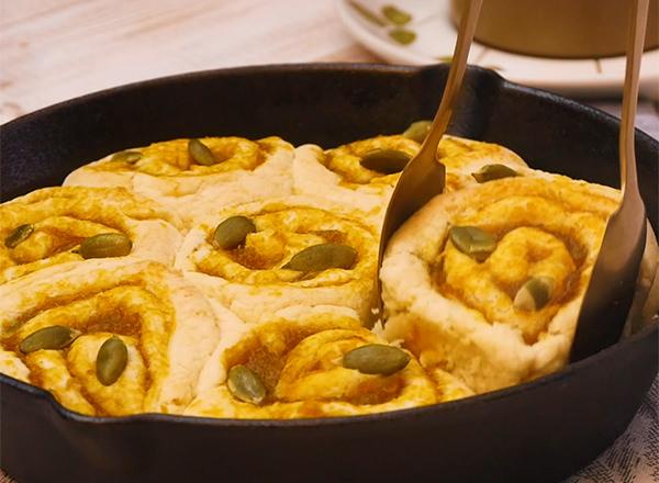 かぼちゃのロールちぎりパン レシピ画像