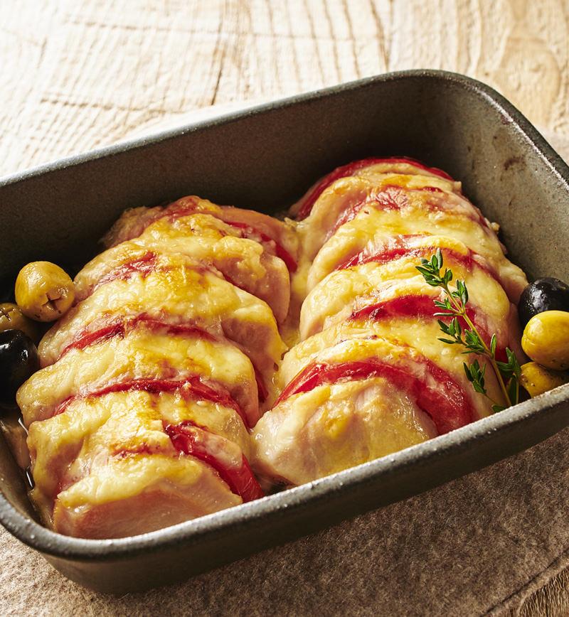 サラダチキンのチーズ焼き ハッセルバック風 レシピ画像