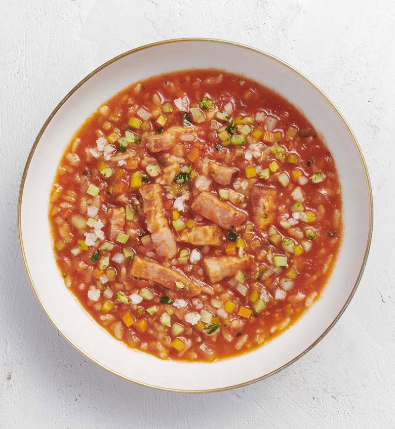 【ベジスープめし】ごはんの半分を6種の彩り野菜に置きかえた 洋風トマトスープめし レシピ画像
