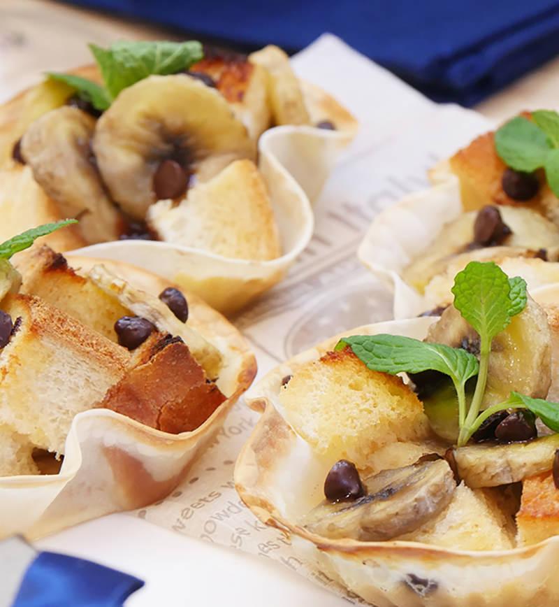 餃子の皮で作る!バナナプディング レシピ画像