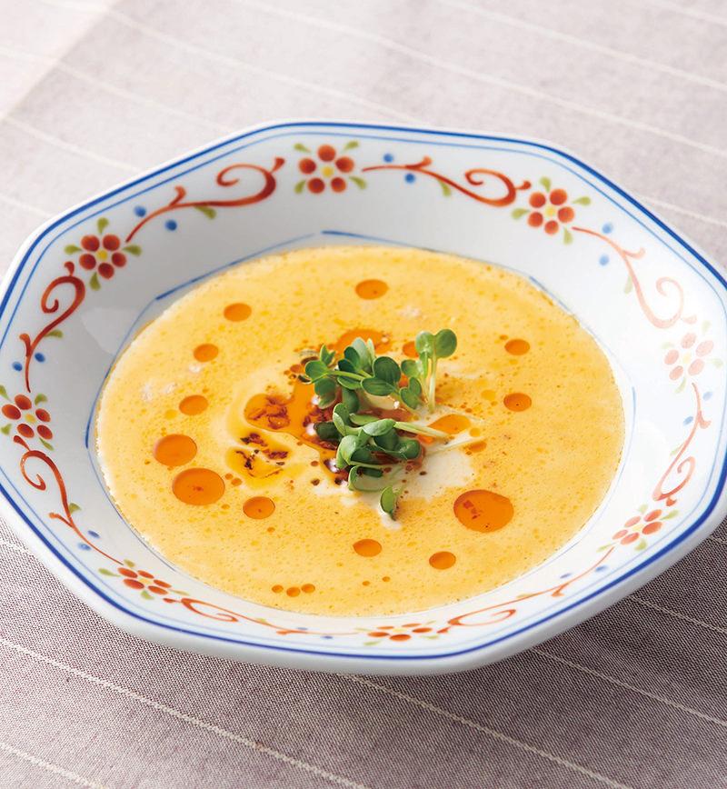 豆乳とおかず辣油でごま坦々風スープ レシピ画像