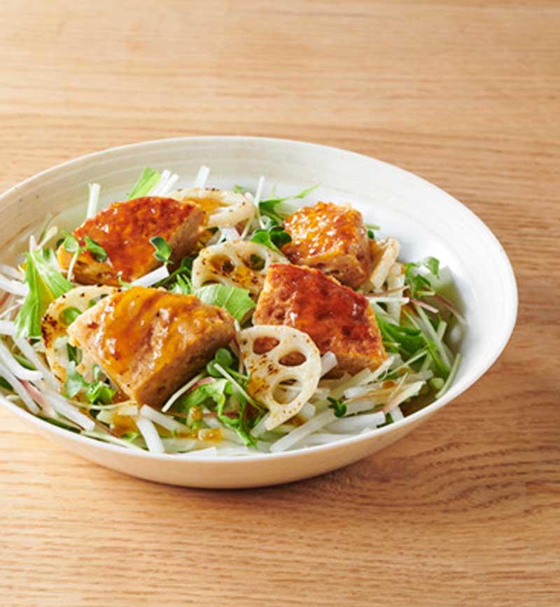 大豆からつくったハンバーグサラダ和風 レシピ画像