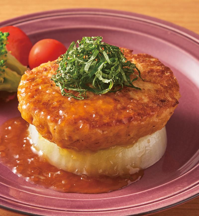 大豆ハンバーグの玉ねぎベッド レシピ画像