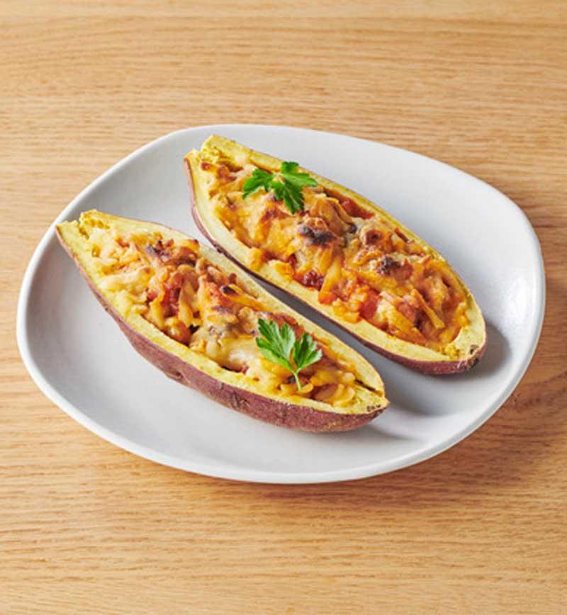 大豆からつくったボロネーゼのおさつボート レシピ画像