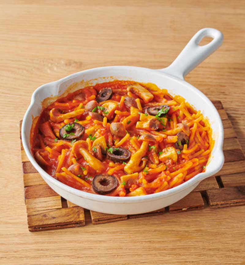 ひよこ豆から作ったパスタdeパエリア レシピ画像