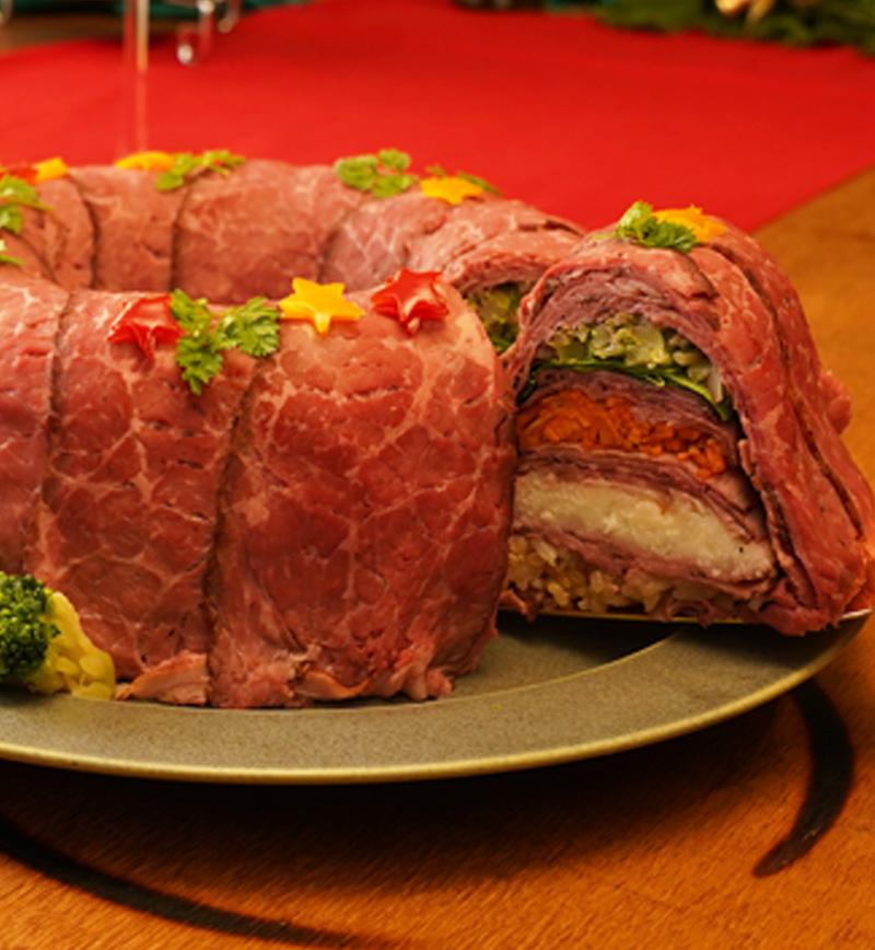 クリスマスリース風ミルフィーユ寿司 レシピ画像