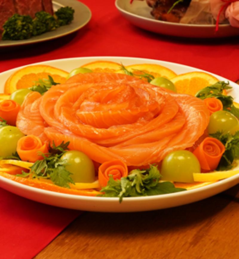 フラワーリース風カルパッチョ レシピ画像