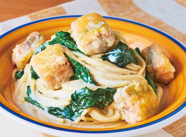 第3位 サーモンとほうれん草のワンパンパスタ レシピ画像