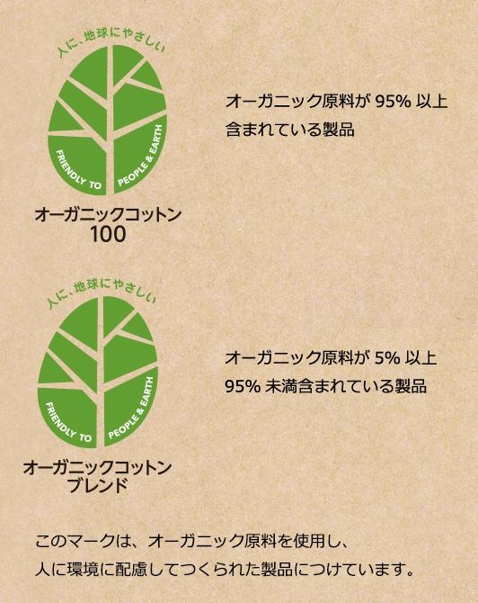 トップバリュのオーガニックについて オーガニックコットン100 オーガニック原料が95%以上含まれている製品 オーガニックコットンブレンド オーガニックコットン原料が5%以上95%未満含まれている製品 このマークは、オーガニック原料を使用し、人に環境に配慮してつくられた製品につけています。