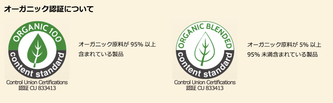 オーガニック認証について Control Union Certifications 認証 Cu 833413 オーガニック原料が95%以上含まれている製品 Control Union Certifications 認証 CU 833413 オーガニック原料が5%以上、95%未満含まれている製品