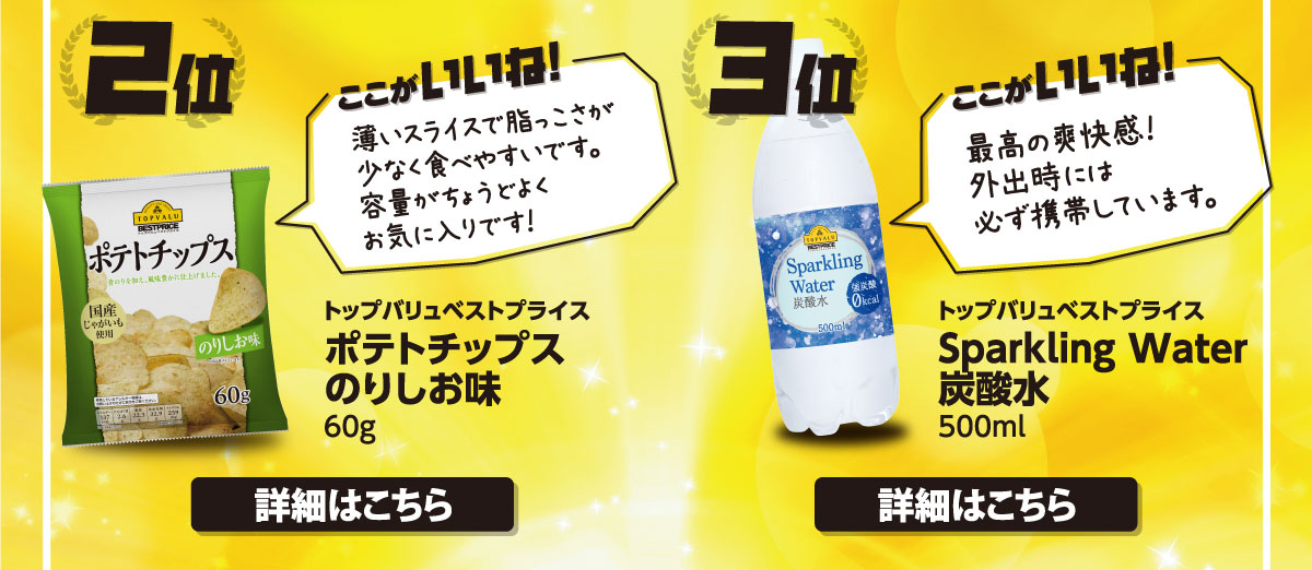 2位 トップバリュベストプライス ポテトチップスのりしお味・3位 トップバリュベストプライス Sparkling Water 炭酸水