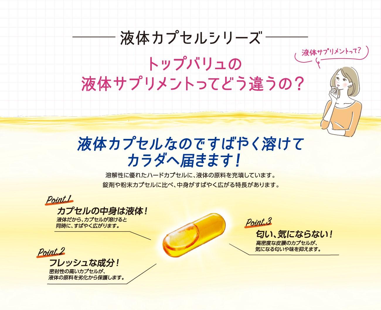 液体カプセルシリーズ トップバリュの液体サプリメント 液体カプセルなのですばやく溶けてカラダへ届きます!