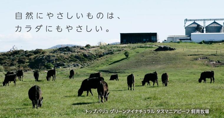 自然にやさしいものは、カラダにもやさしい。 トップバリュ グリーンアイナチュラル タスマニアビーフ 飼育牧場