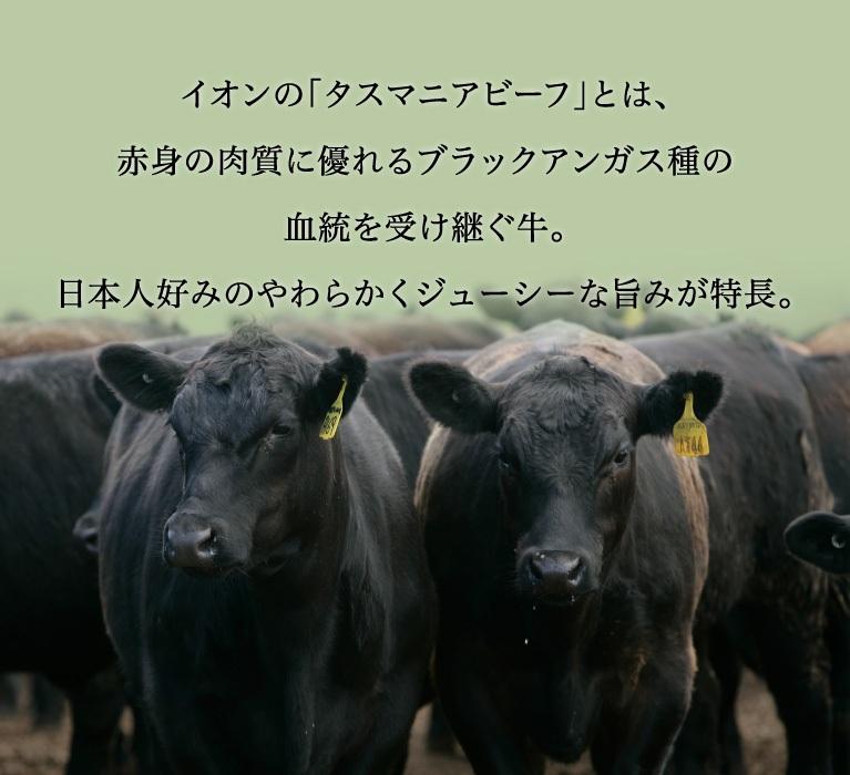 イオンの「タスマニアビーフ」とは、赤身の肉質に優れるブラックアンガス種の血統を受け継ぐ牛。日本人好みのやわらかくジューシーな旨みが特長。