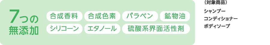 7つの無添加 合成香料・合成色素・パラベン・鉱物油・シリコーン・エタノール・紫外線吸収剤 (対象商品)ボディミルク UVクリーム