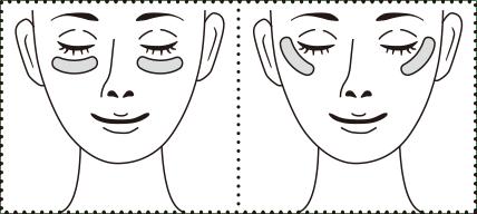 パッチ中央部分のちくちくした針状の面で、下まぶた、目尻、口もとなど気になる部分を覆うように貼る。