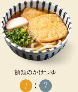 麺類のかけつゆ つゆ1 水またはお湯7