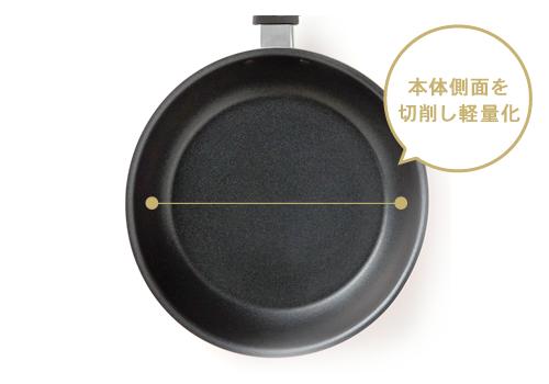 広めの調理面で、家族分の料理も一気に作れます。本体側面を切削し軽量化