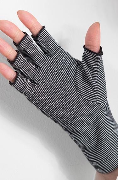 夏サラ UVボーダー手袋(ショート指先カット)