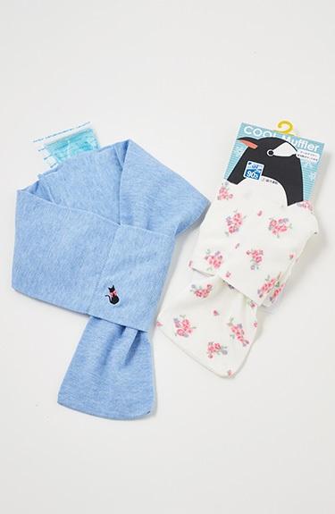 夏サラ UVクール保冷剤ポケット付ねこ刺繍マフラー