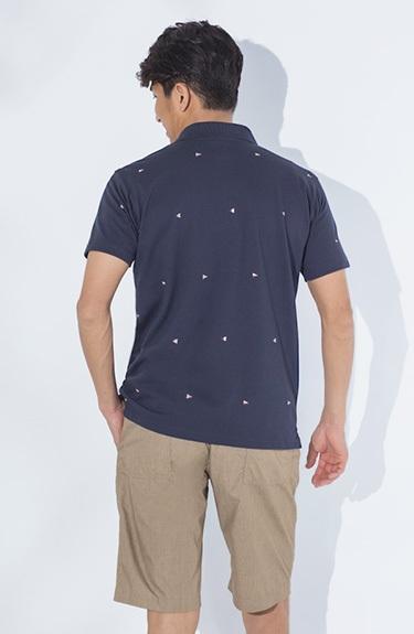 におわん抗菌 鹿の子プリント半袖ポロシャツ