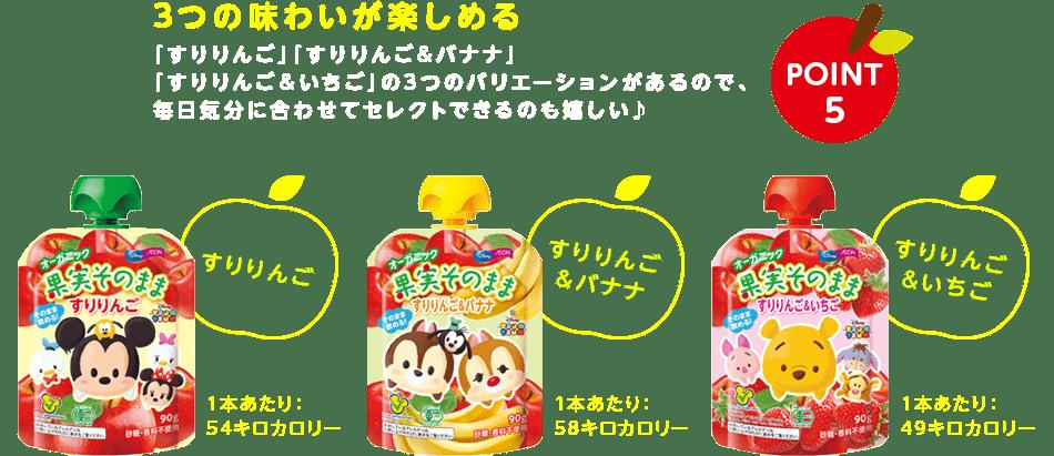 POINT 5 3つの味わいが楽しめる 「すりりんご」「すりりんご&バナナ」「すりりんご&いちご」の3つのバリエーションがあるので、毎日気分に合わせてセレクトできるのも嬉しい♪ すりりんご 1本あたり:54キロカロリー すりりんご&バナナ 1本あたり:58キロカロリー すりりんご&いちご  1本あたり:49キロカロリー