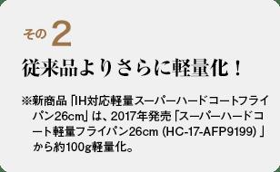 その2 従来品よりさらに軽量化! ※新商品「IH対応軽量スーパーハードコートフライパン26cm」は、2017年発売「スーパーハードコート軽量フライパン26cm(HC-17-AFP9199)」から約100g軽量化。