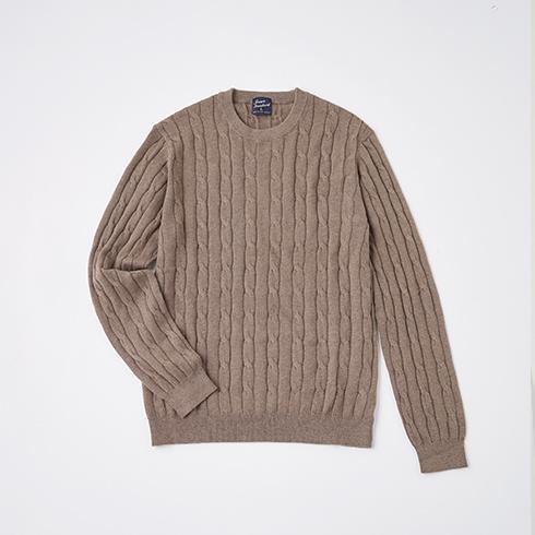 綿カシミヤケーブルクルーネックセーター