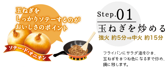 Step.01 玉ねぎを炒める 強火 約5分→中火 約15分 フライパンにサラダ油をひき、玉ねぎをきつね色になるまで炒め、鍋に移します。