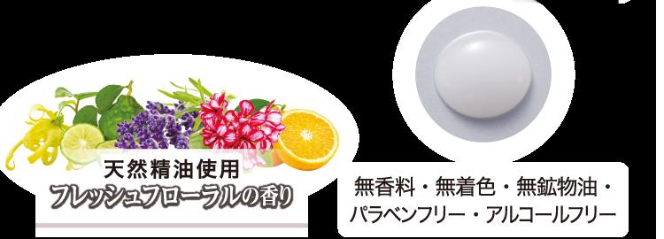 天然精油使用フレッシュフローラルの香り 無香料・無着色・無鉱物油・パラベンフリー・アルコールフリー