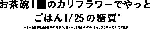 お茶碗1杯のカリフラワーでやっとごはん1/25の糖質※日本食品標準成分表2015年版(七訂) めし(精白米)150gとカリフラワー150gでの比較)