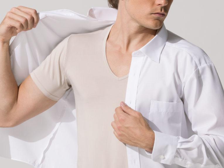 白シャツから透けにくい、ベージュインナー